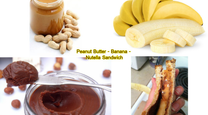 Peanut butter, banana and Nutella sandwich