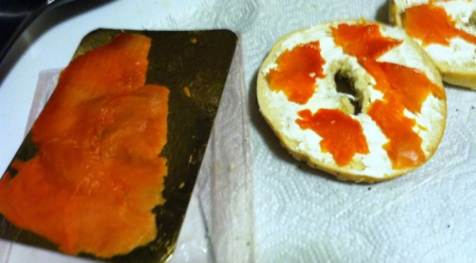 Everything bagel with lox & cream cheese