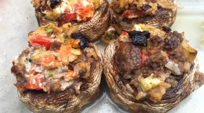 Mediterranean Stuffed Mushroom Caps