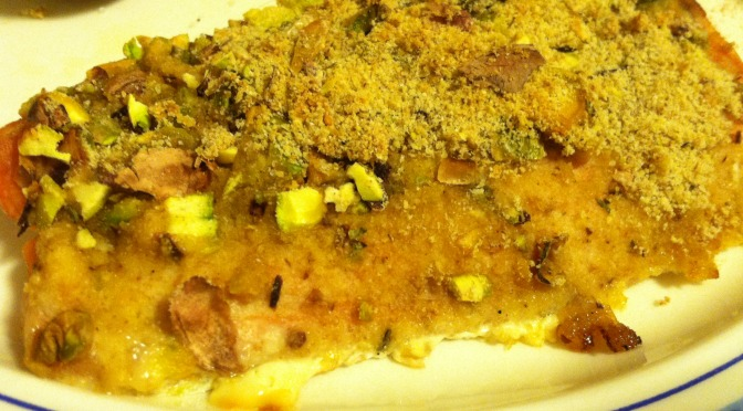 Pistachio-crusted baked salmon