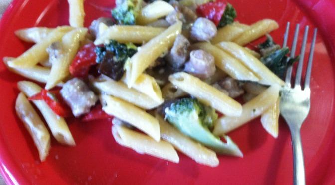 Sausage & Veggie Parmesan Alfredo