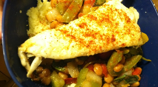 Couscous & Beans with White Fish