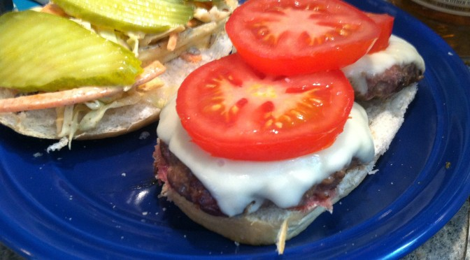 Double Burger with Creamy Chili Coleslaw