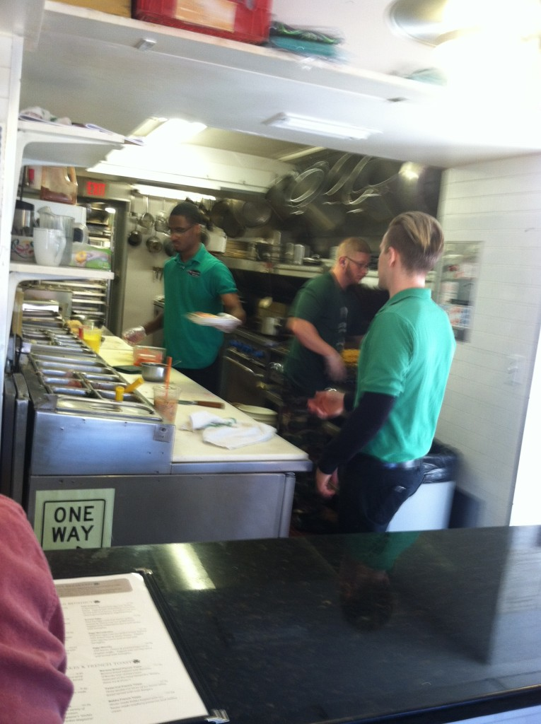 Busy kitchen at ORourkes diner
