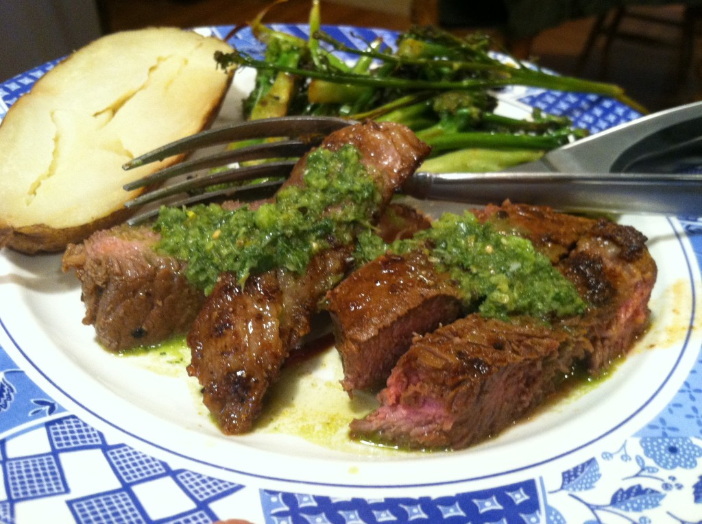 Flank Steak With Chimmichurri Sauce