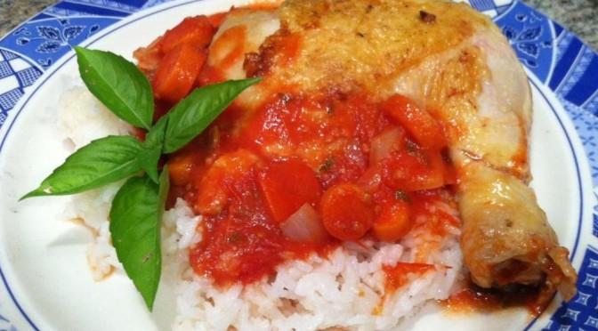 Tomato Basil Chicken Cacciatore