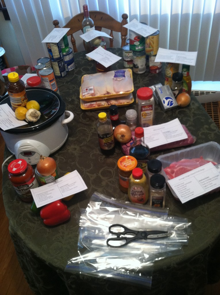 Freezer Cooking Meal Ingredients on Table