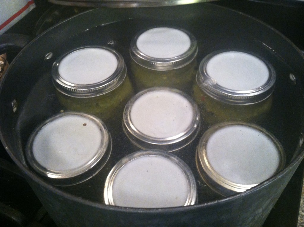 Green tomato salsa jars in water bath canner