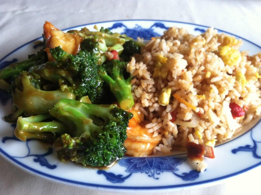 Shrimp and Broccoli with Pork Fried Rice