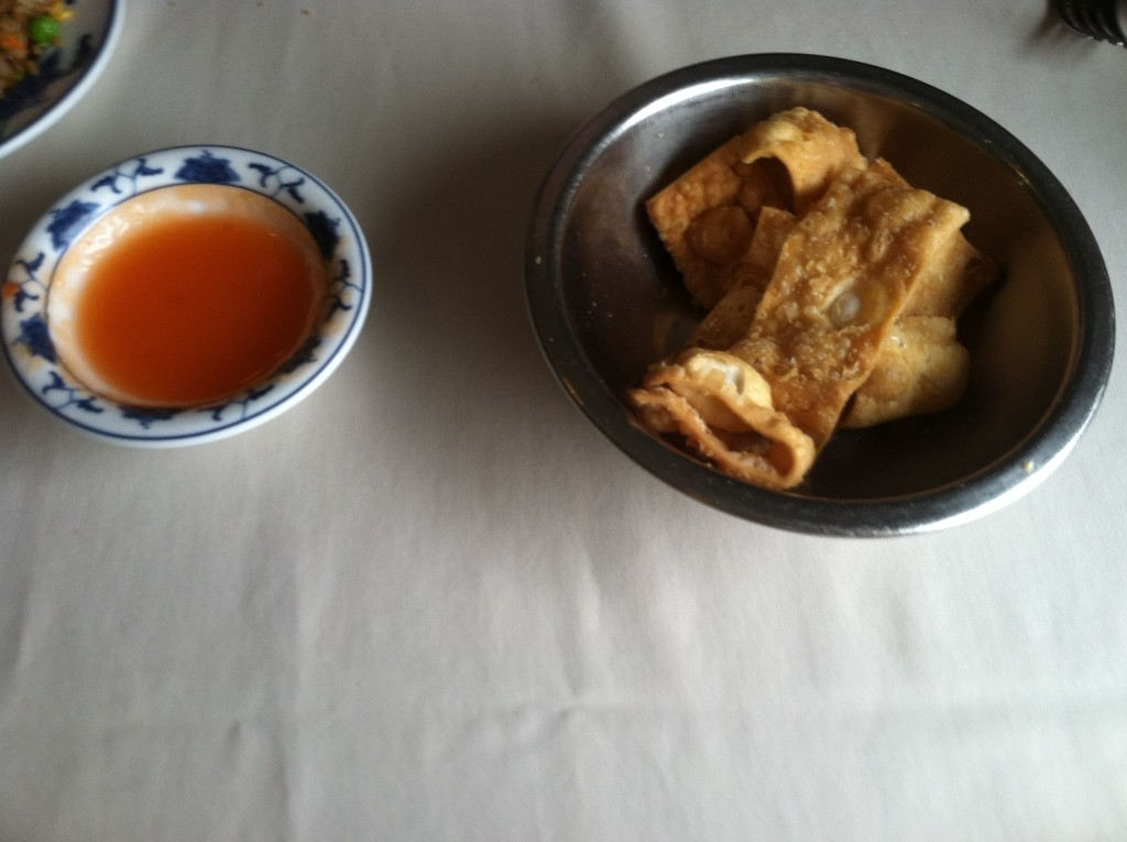Fried dough and sweet and sour sauce appetizer
