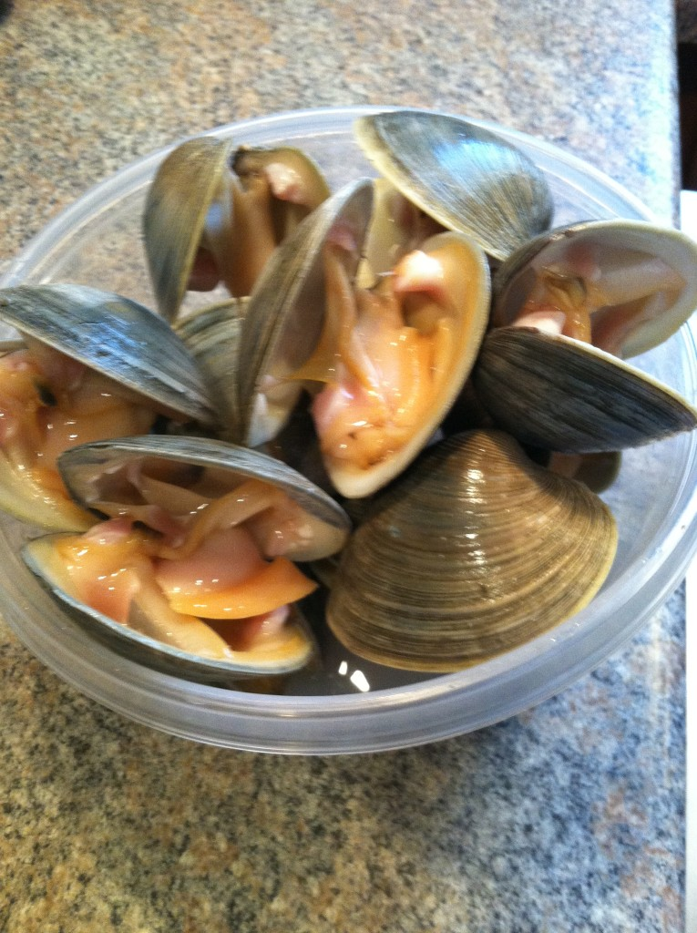 Bowl of open clams