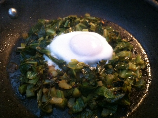 Greens in Pan with Egg