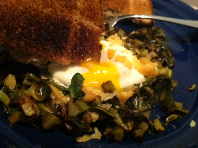 Greens and Egg Yolk and Toast