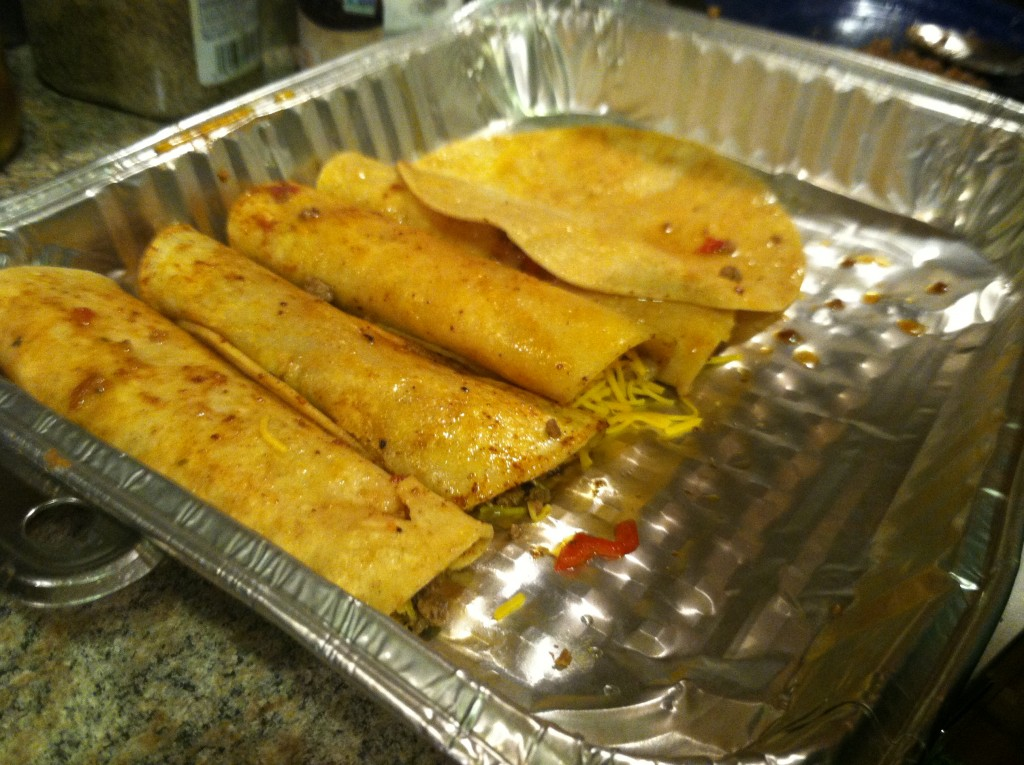 Enchiladas being prepared