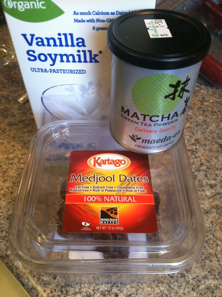 Ingredients for a sweetened vanilla Matcha Latte