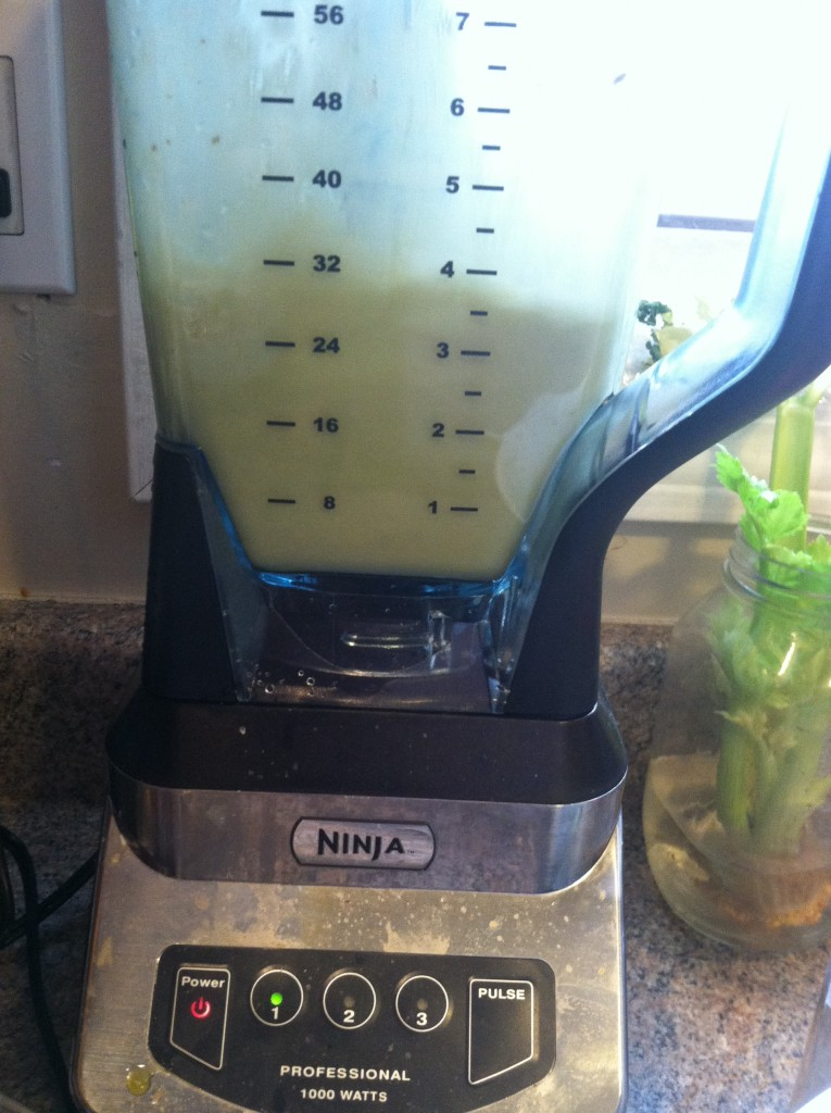 Matcha latte in a blender