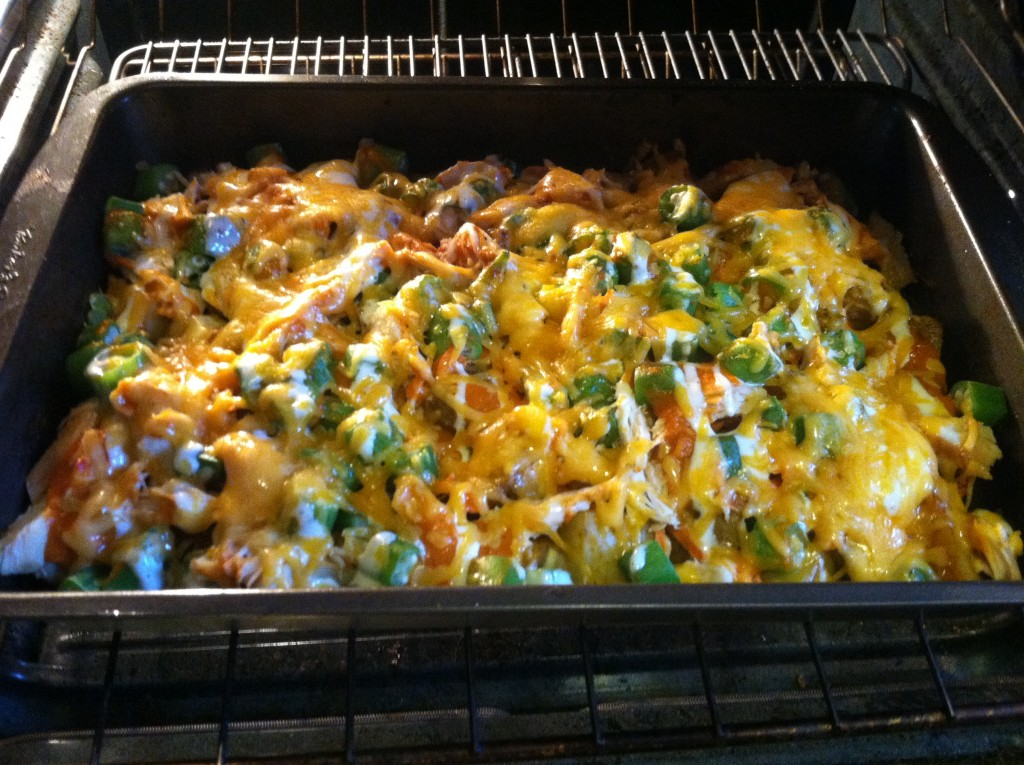 One Pan Buffalo Chicken Potato Bake