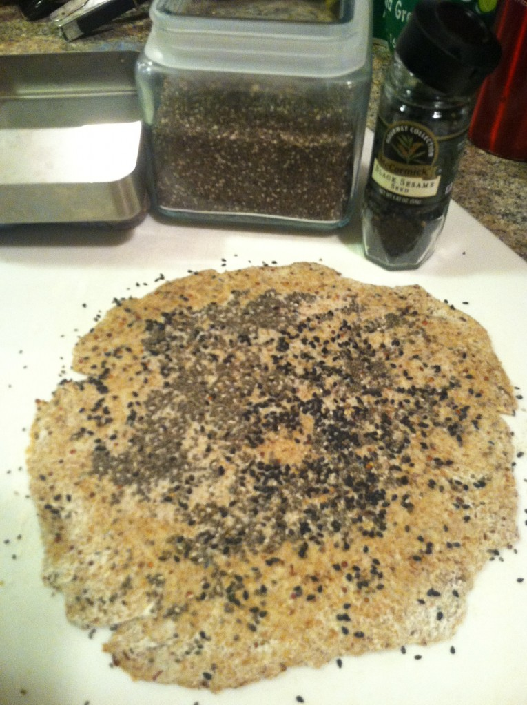Whole Wheat Cracker Rolled Out With Seeds