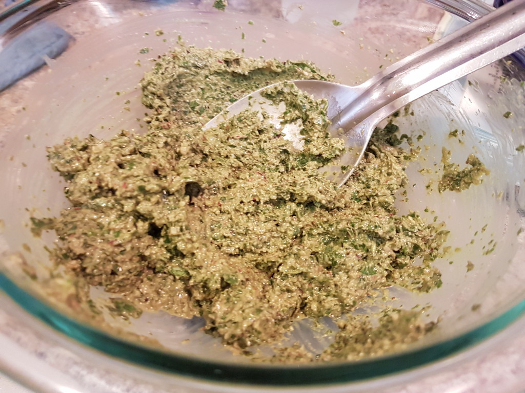 Blender pesto sauce in a bowl