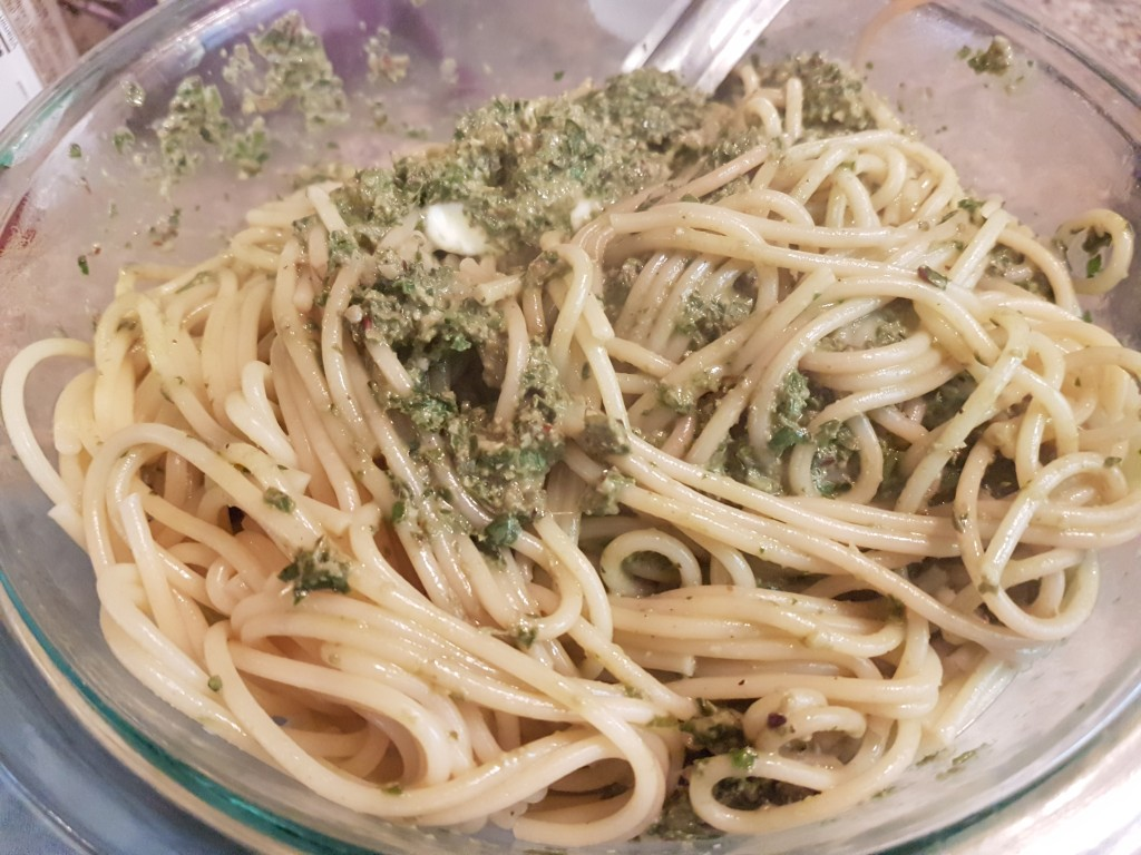 Fresh pasta and pesto sauce