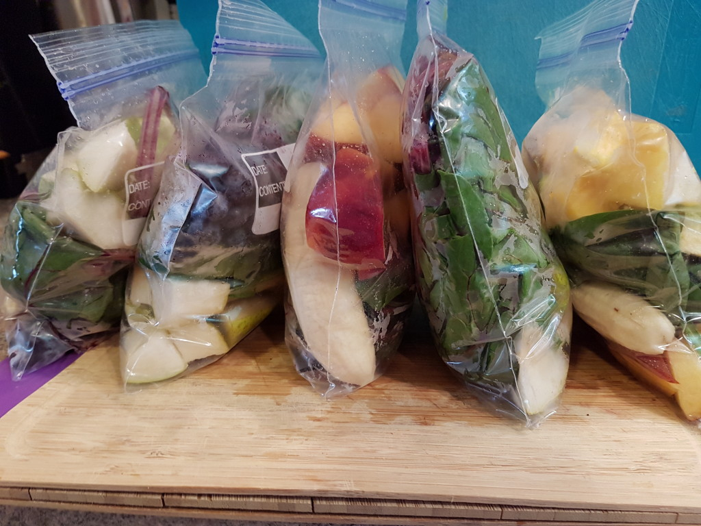 Smoothie packs ready for the freezer