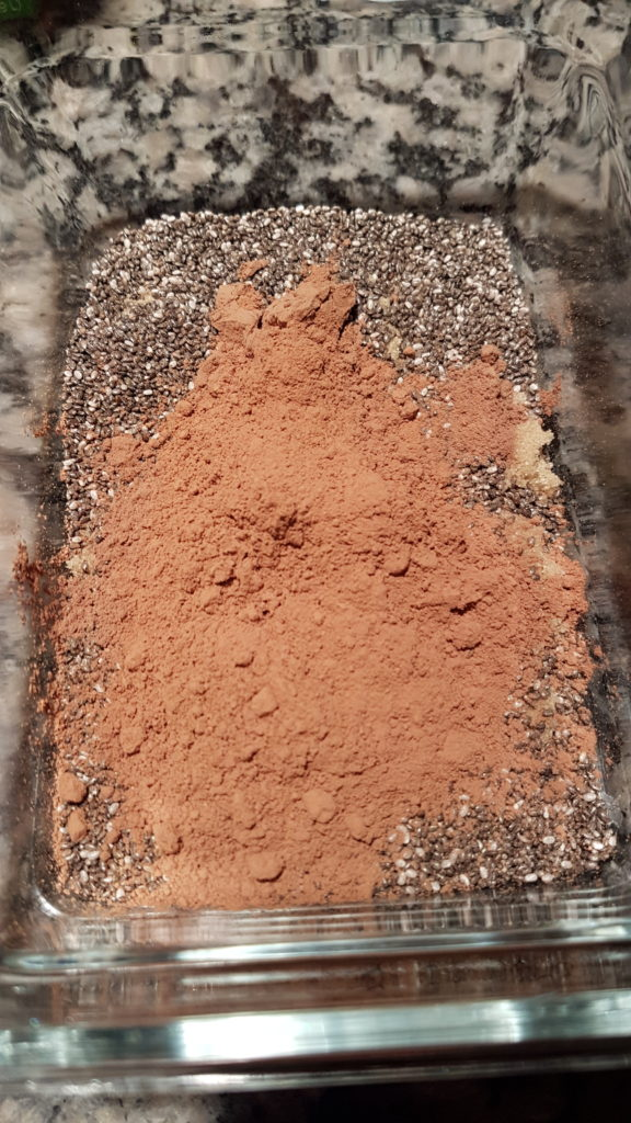 Chocolate chia pudding ingredients in bowl