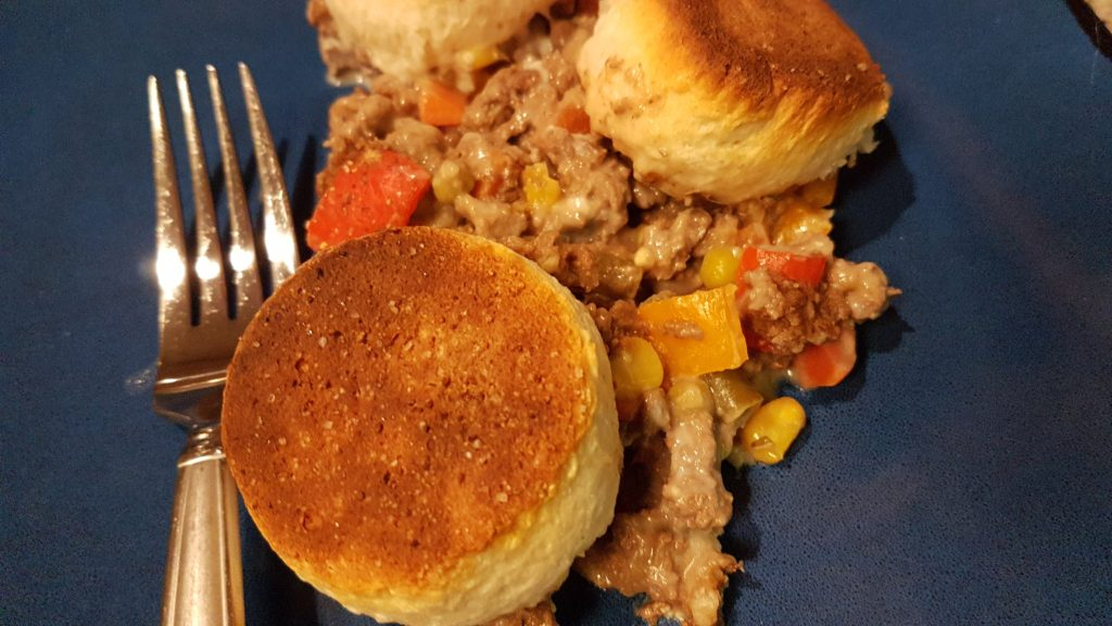 venison pot pie with biscuits