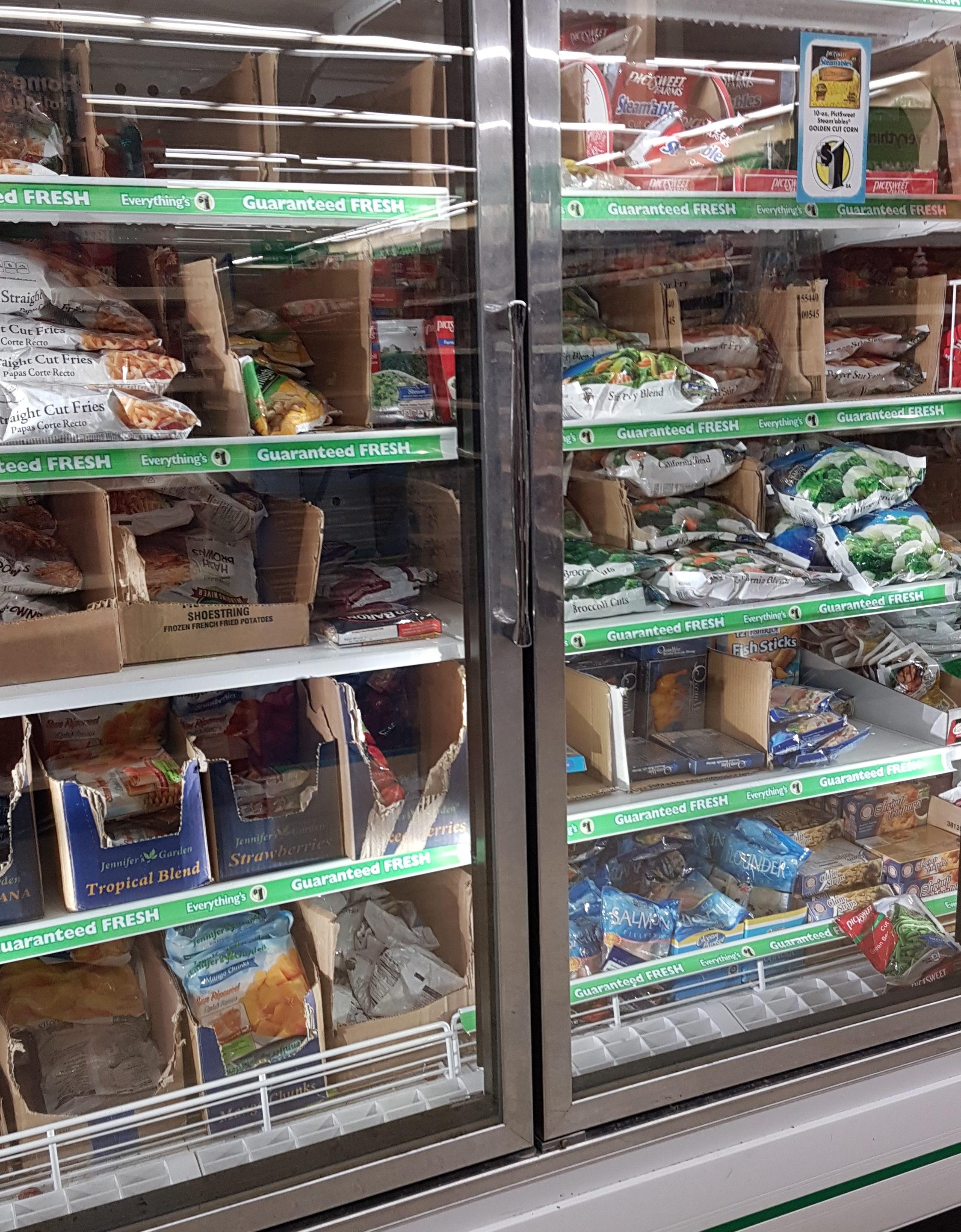 Dollar Tree shelves frozen section