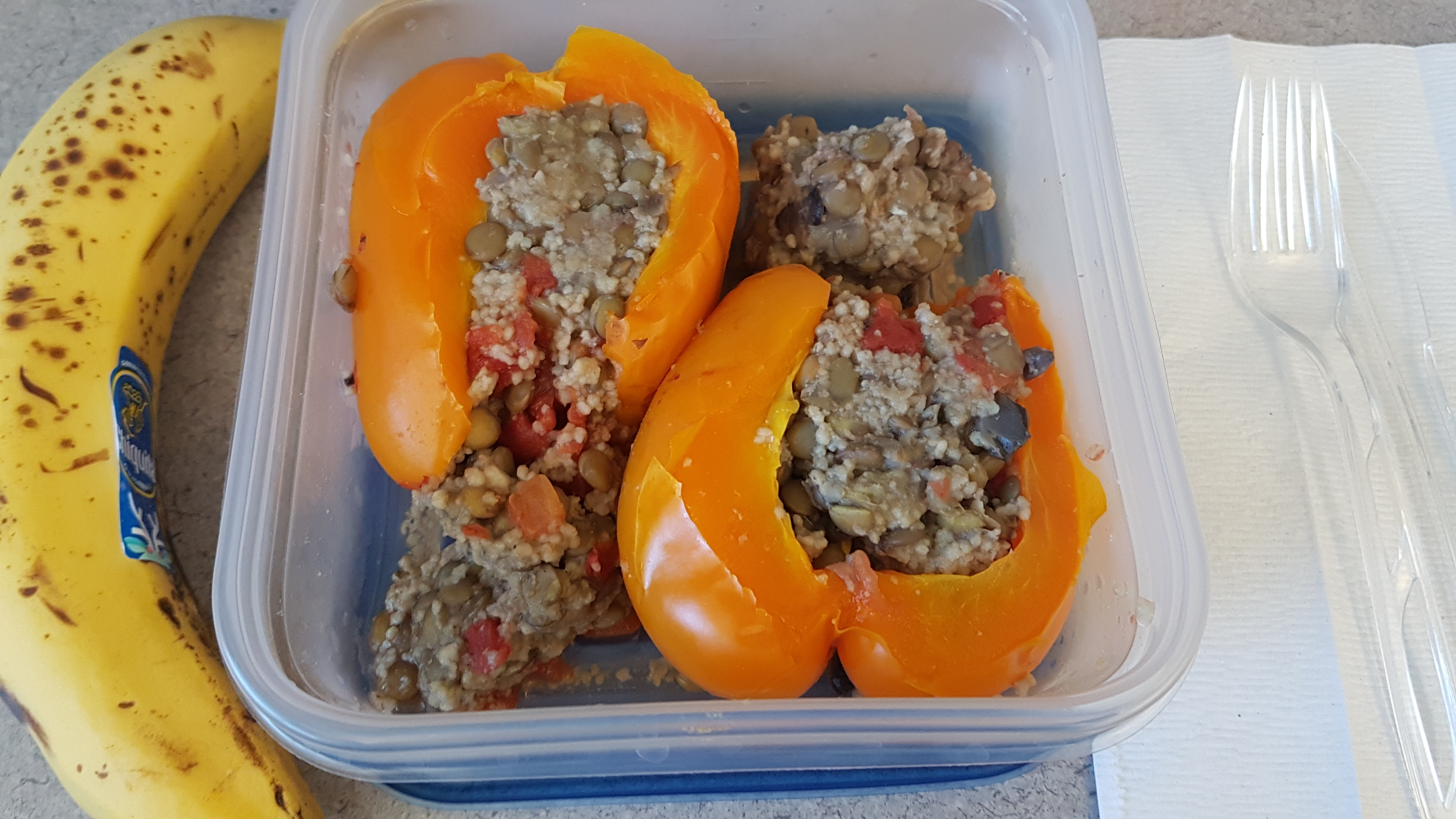 stuffed bell pepper and a banana