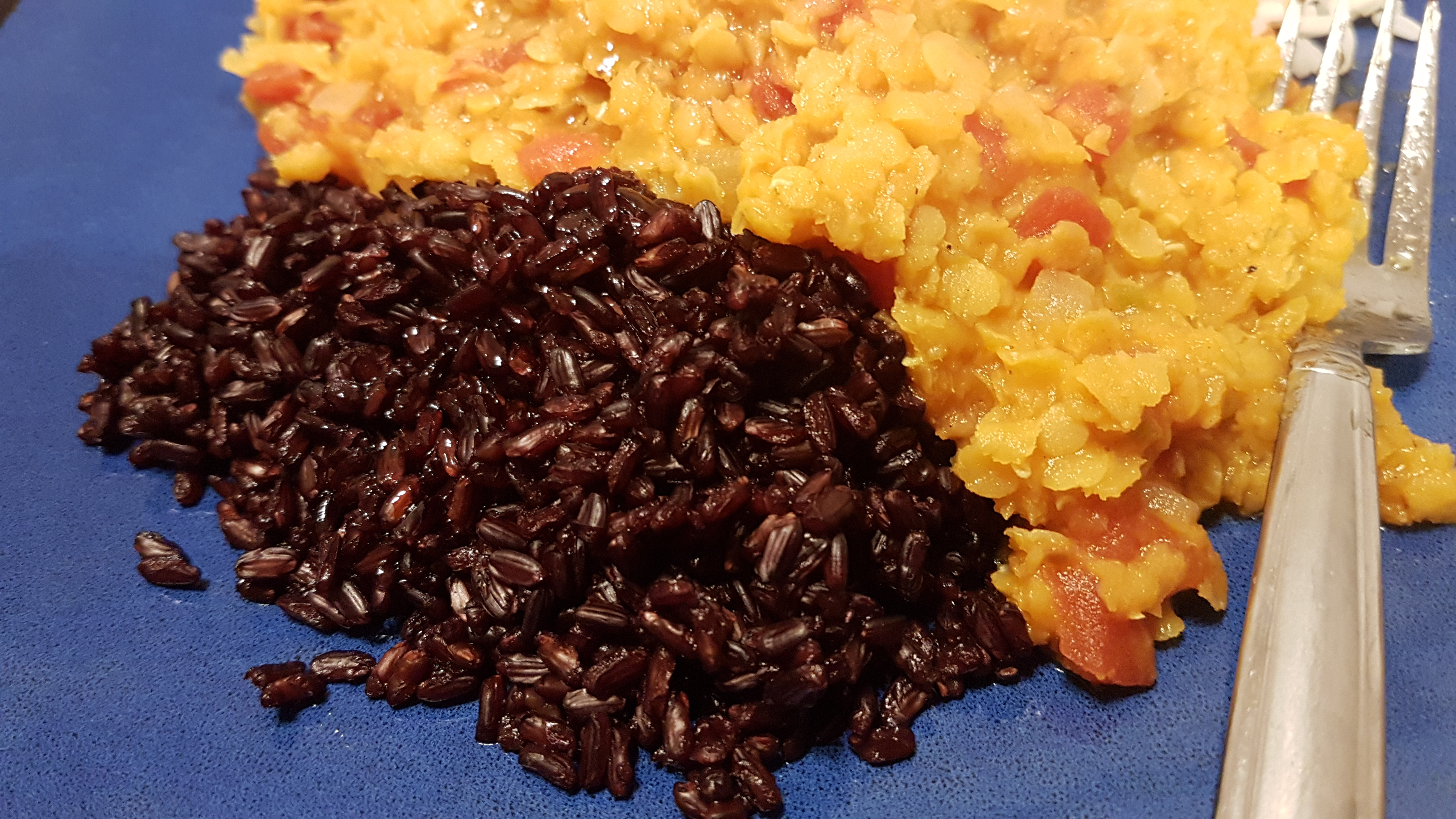 red lentils and black rice