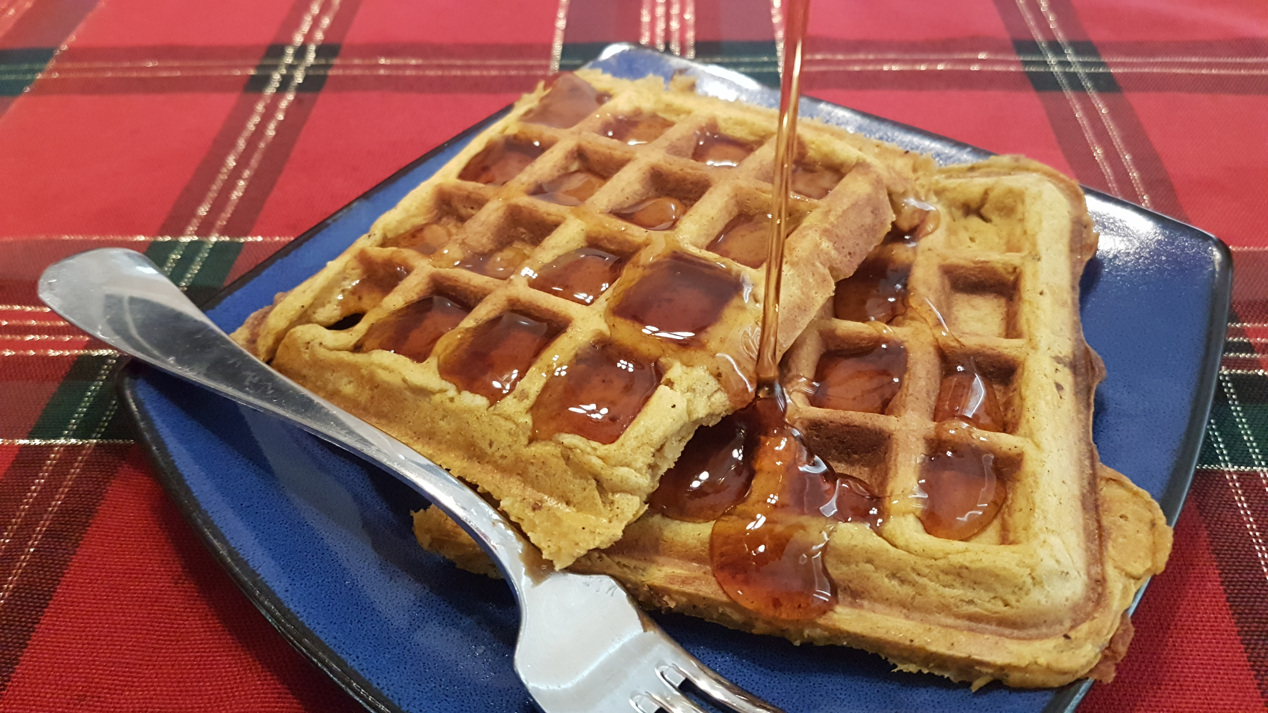 sweet potato waffles with syrup