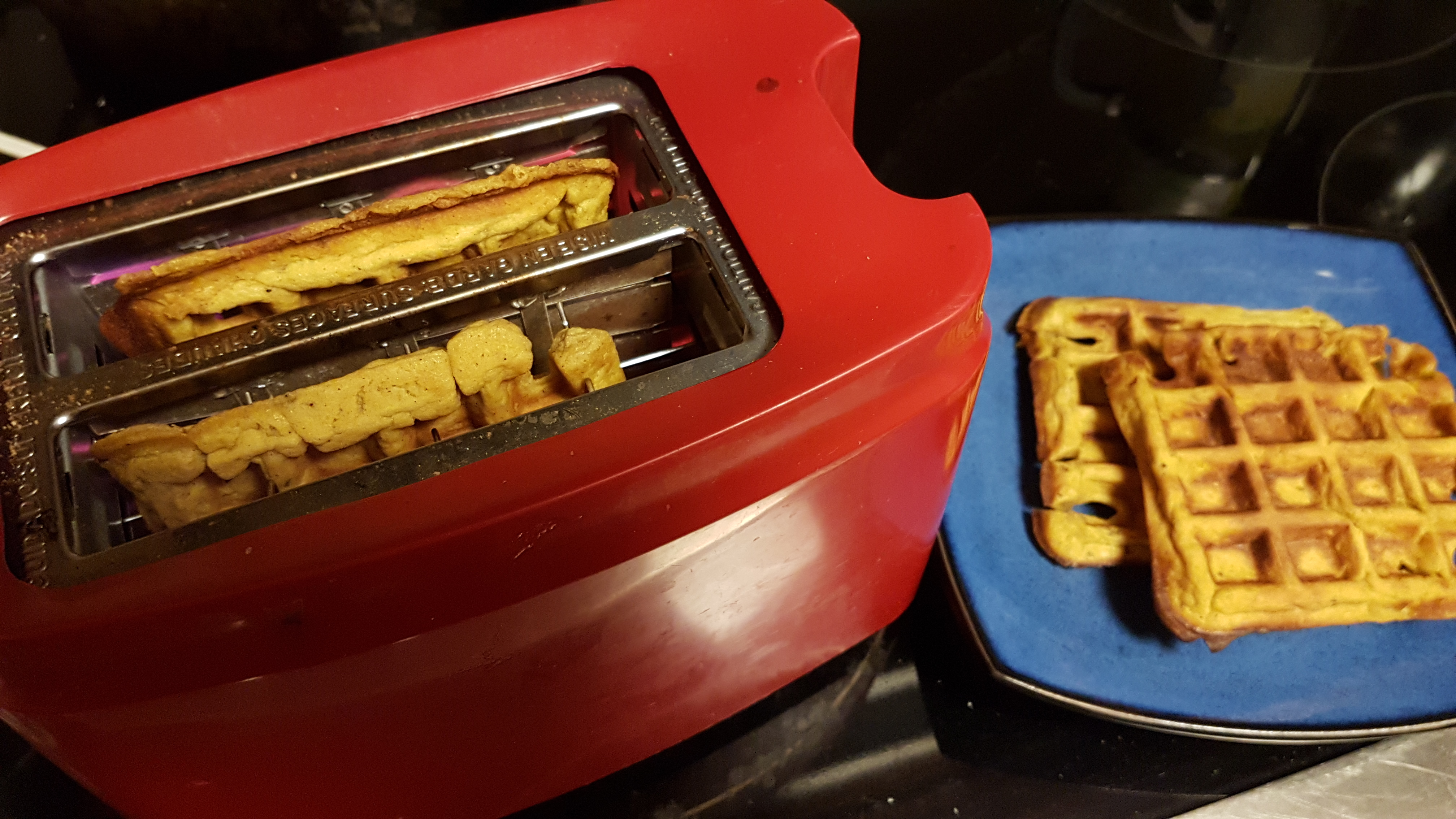 sweet potato waffles in the toaster