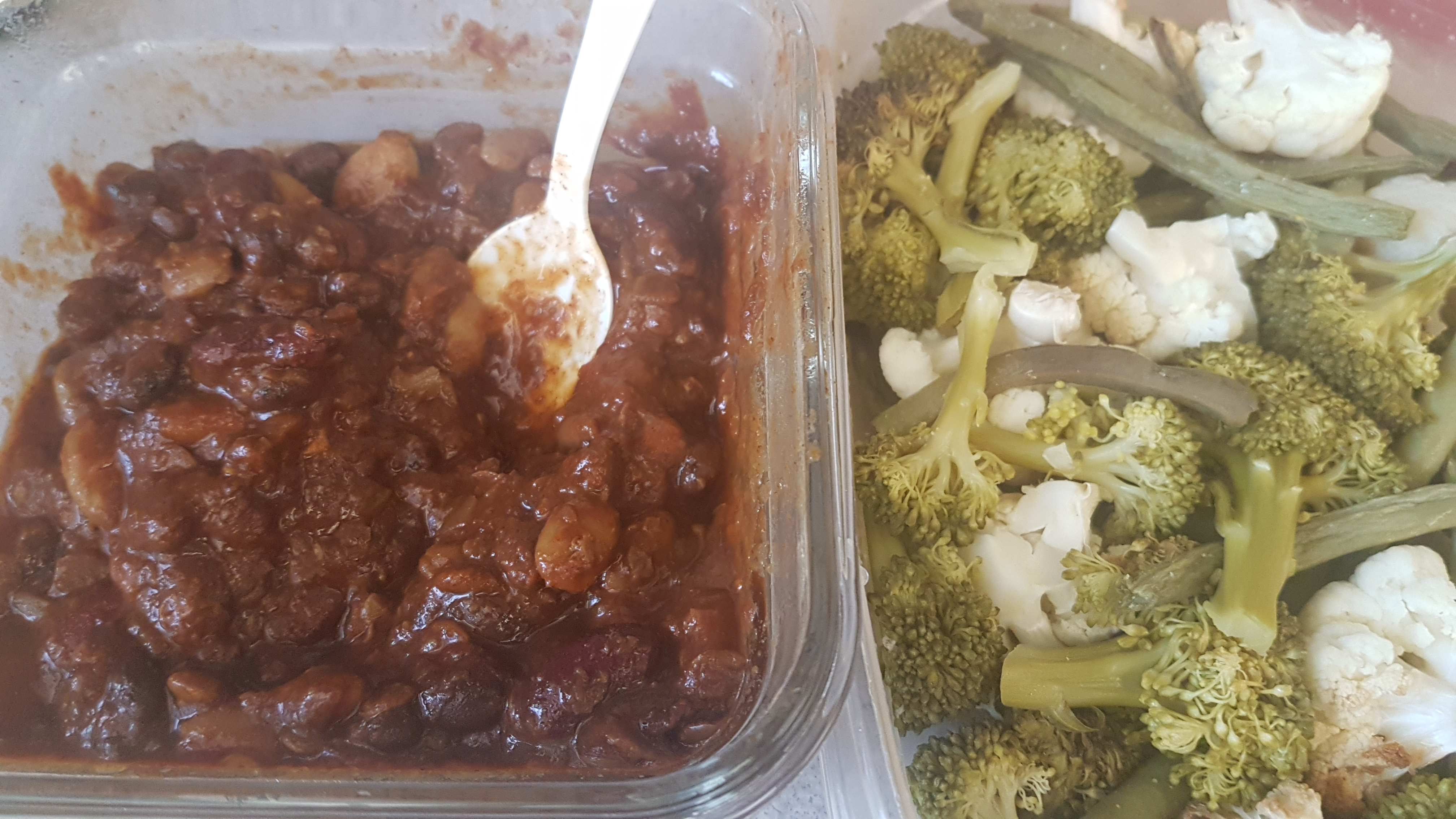 vegetarian chili with steamed vegetables