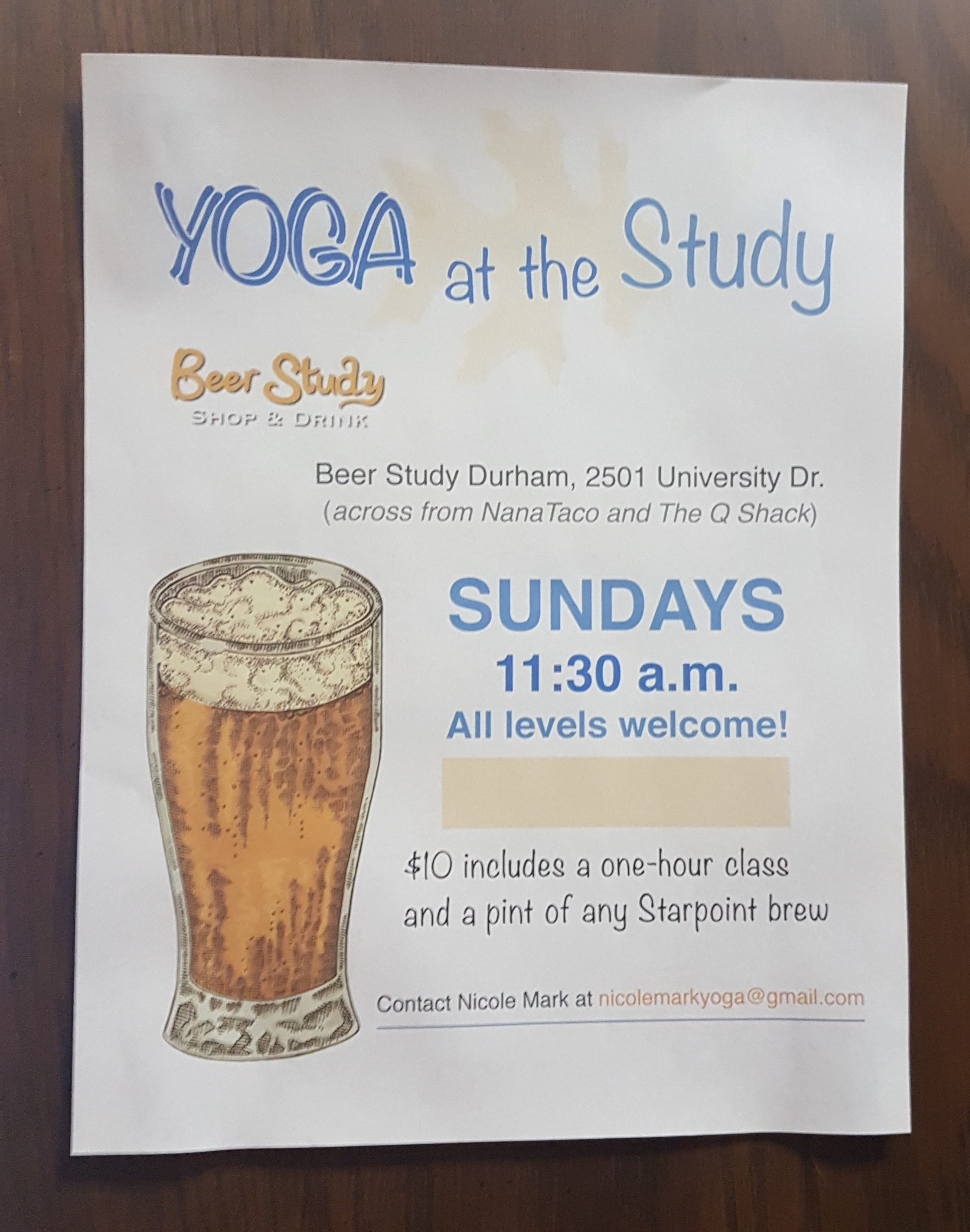 yoga and beer in durham
