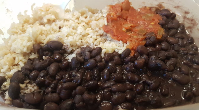 black beans and rice and salsa