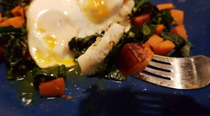 sweet potato and kale breakfast hash with egg