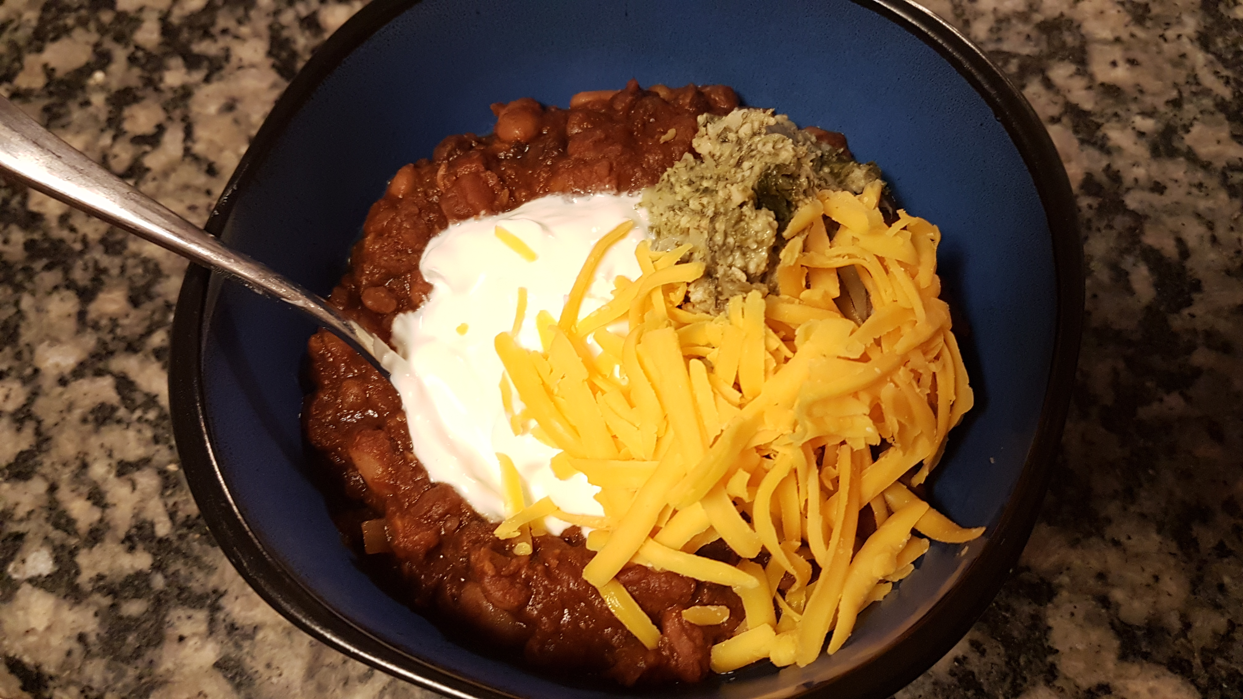5 bean chili with spin artichoke dip