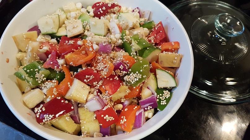 budget epicurean quinoa summer veggie casserole