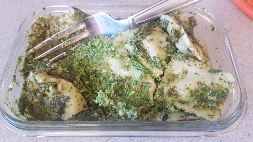budget epicurean ravioli with pesto