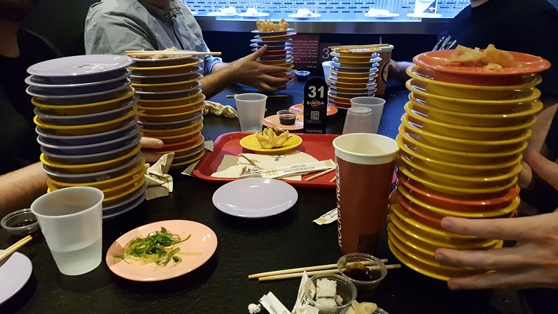 budget epicurean stacks of sushi plates