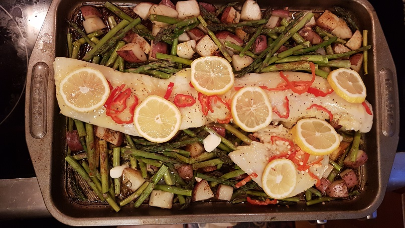 baked cod, potatoes, and asparagus