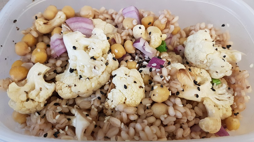 cauliflower barley cashew bowl