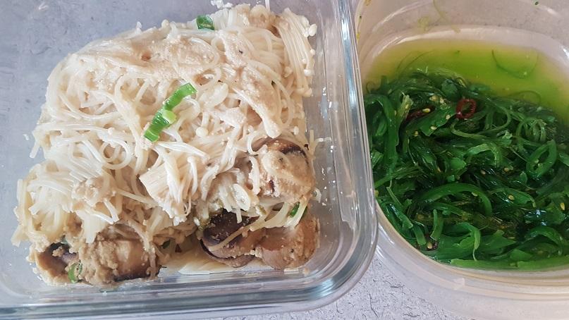 mushroom pasta and seaweed salad