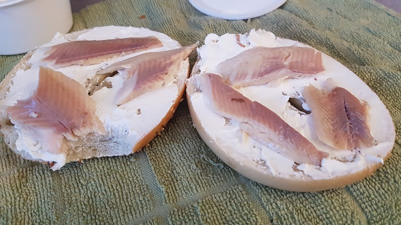 smoked rainbow trout bagel