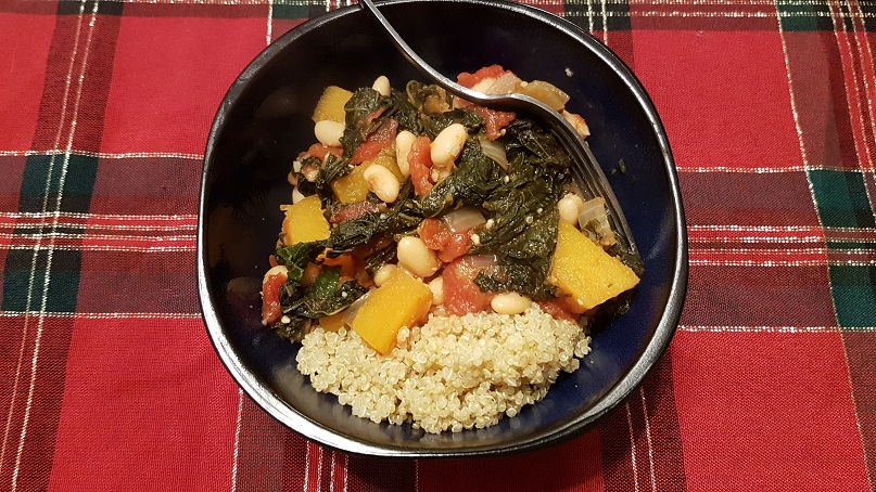 white bean and squash stew over quinoa