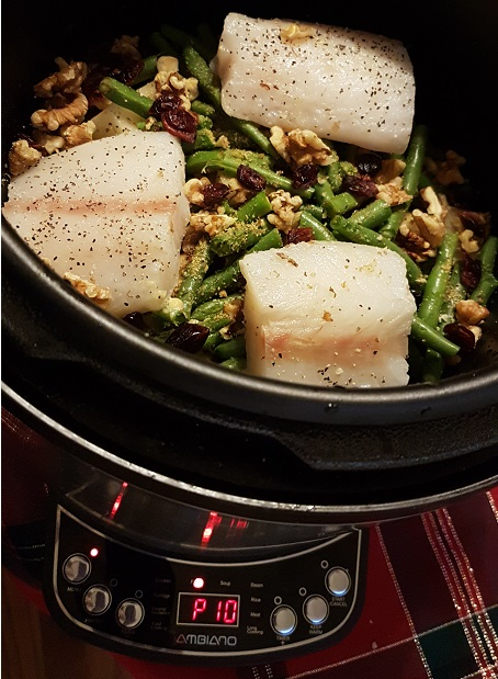 instant pot cod with potatoes and green beans
