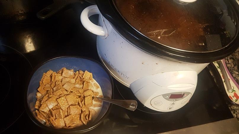 golden grahams and crockpot of pumpkin chili