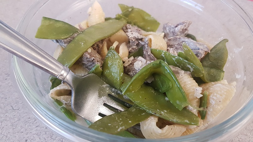 leftover steak stroganoff with peas