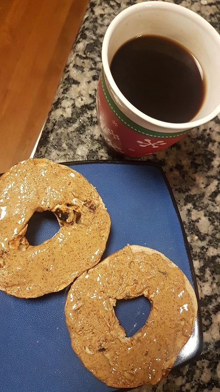 bagel with almond butter