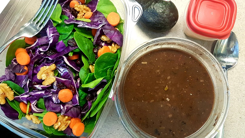 salad and black bean soup